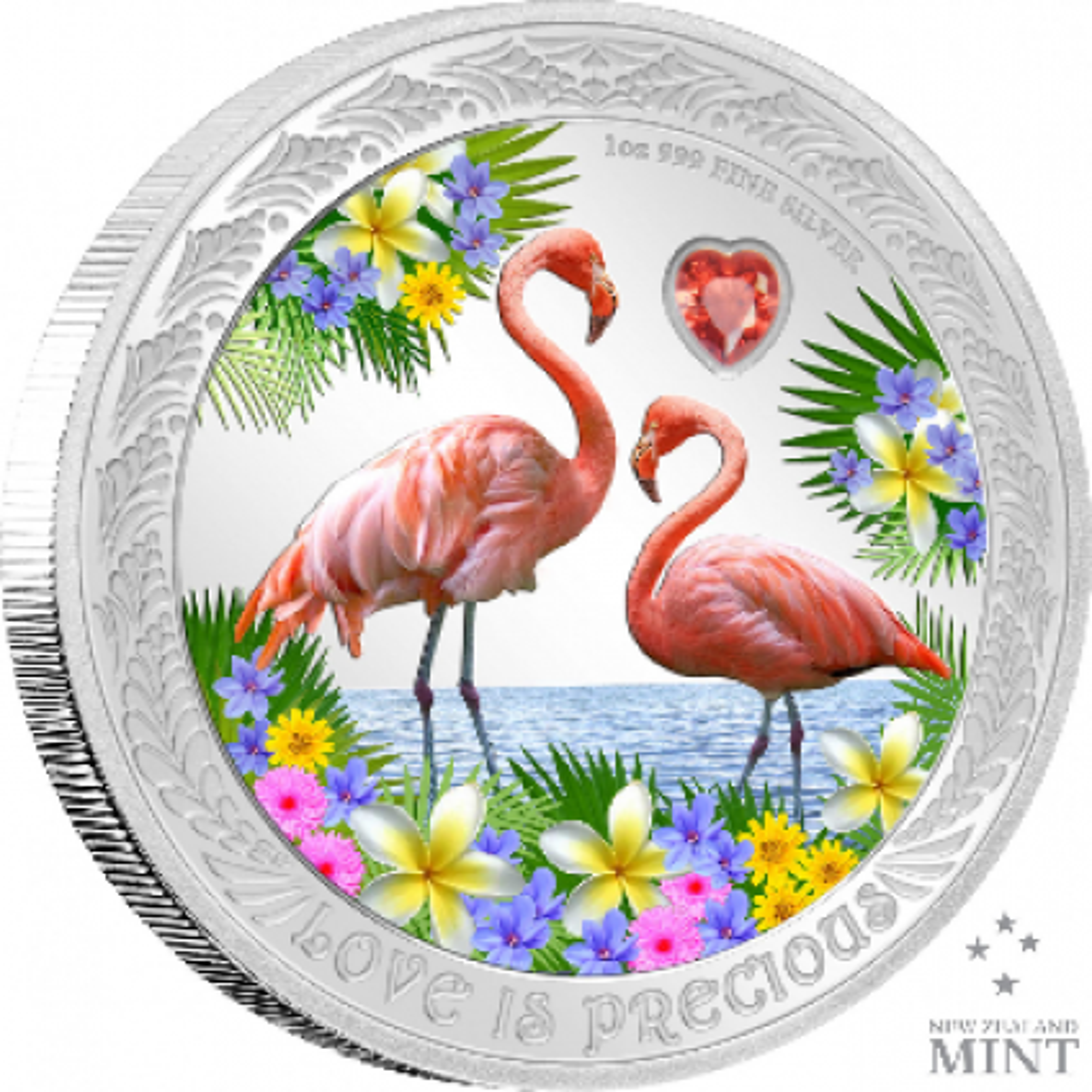 1 troy ounce zilveren munt Love is Precious - Flamingo's 2021