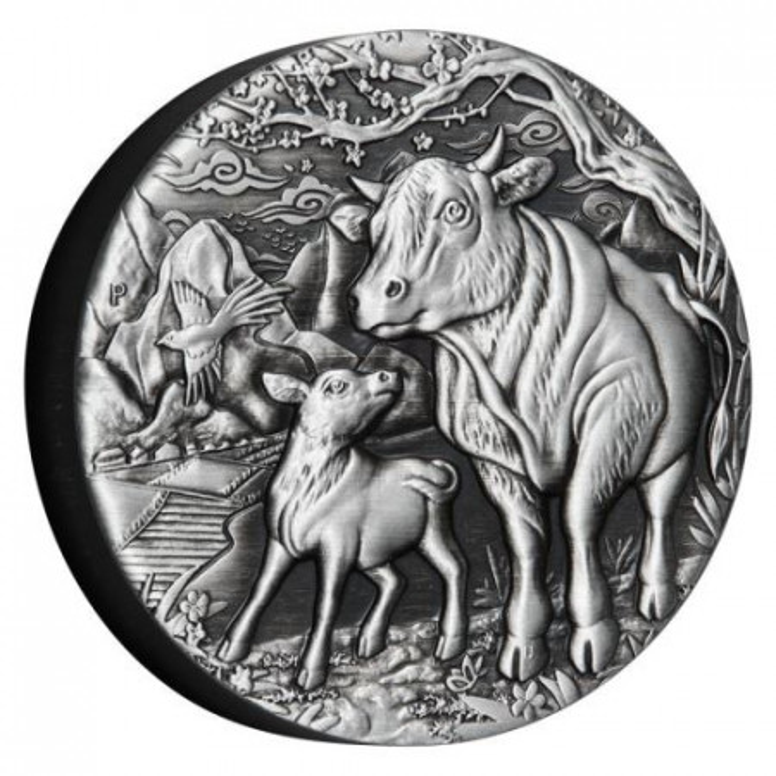 2 troy ounce zilveren munt Lunar jaar van de Os 2021 Proof