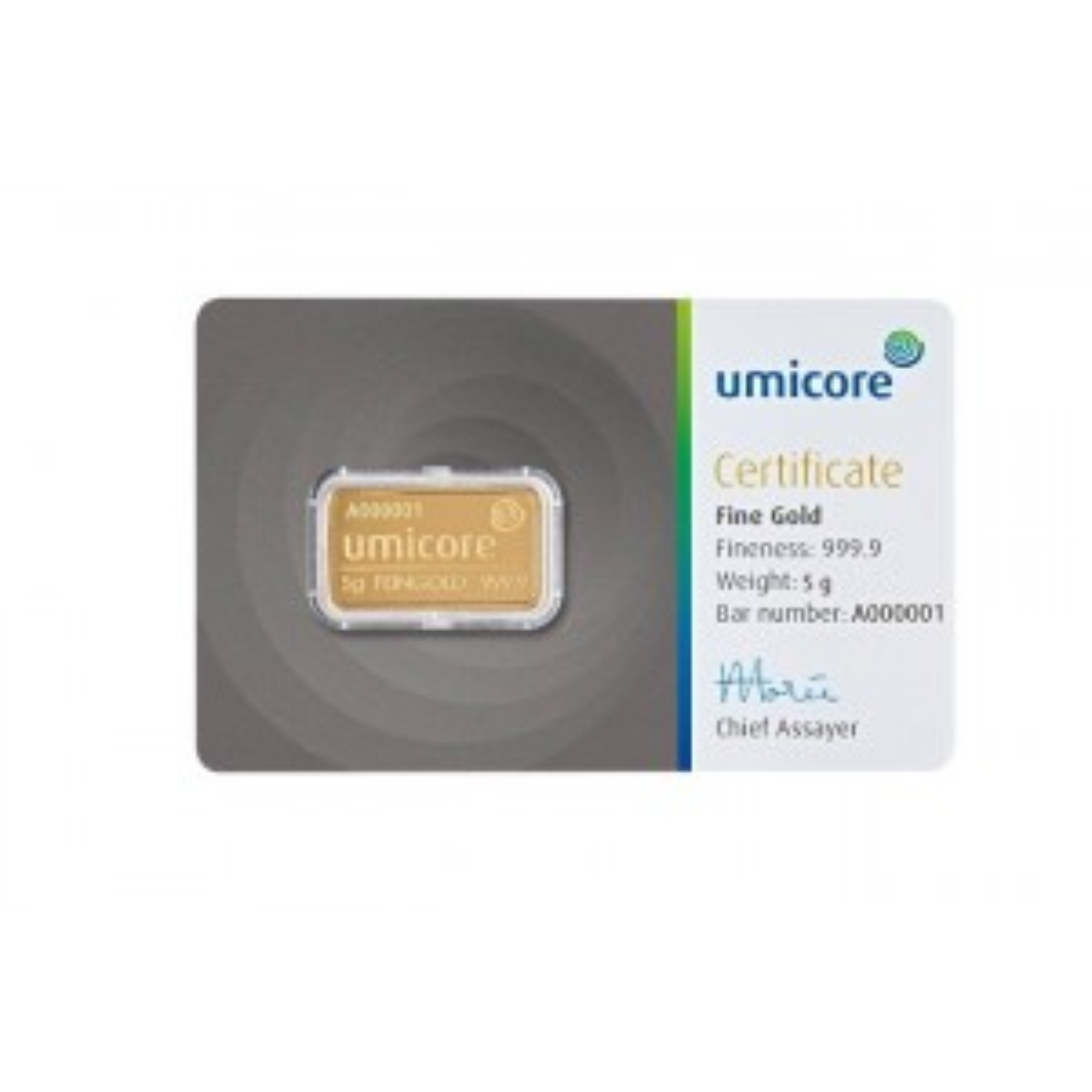 Goud baar 5 gram Umicore met certificaat