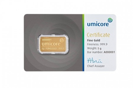 Gold bar 5 gram Umicore with certificate