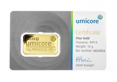 Goldbar 10 gram Umicore with certificate