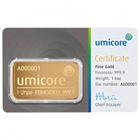 Goldbar 1 troy ounce Umicore with certificate