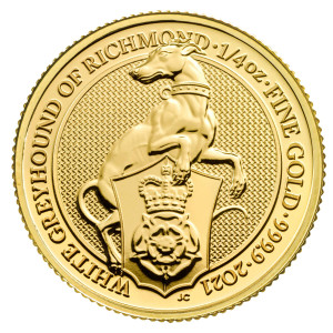 1/4 Troy ounce gouden munt Queens Beasts White Greyhound