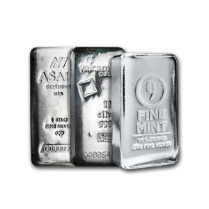 1000 grams silver bar various refineries