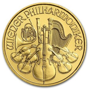 1/10 Troy ounce golden Philharmoniker coin