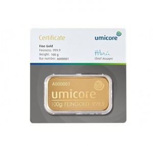 Goldbar 100 gram Umicore with certificate