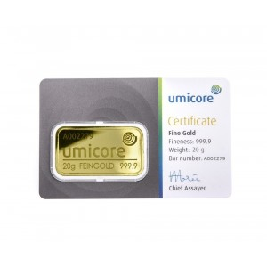 Goldbar 20 gram Umicore with certificate