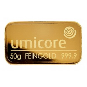 Gold bar 50 gram Umicore